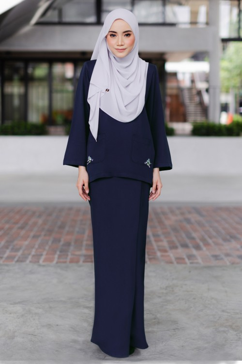 Lauryn Kurung in Navy Blue