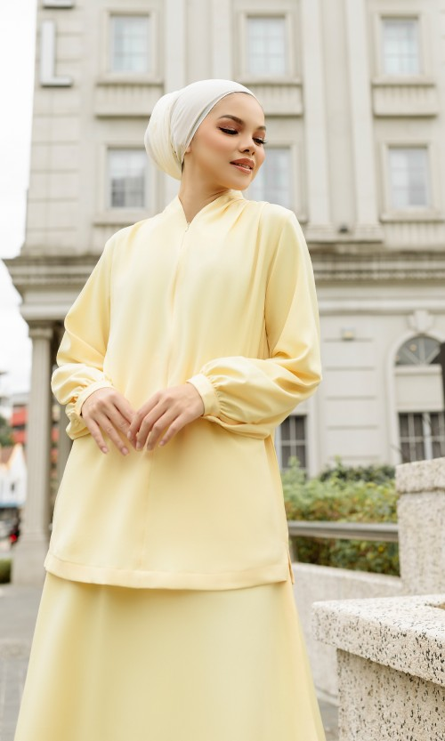 Anna Top and Skirt (SET) in Soft Yellow