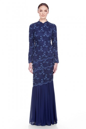 Abril Kurung in Navy Blue