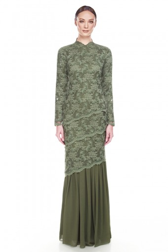 Abril Kurung in Olive Green