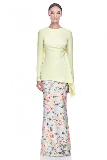 Chempaqa Kurung in Pastel Yellow