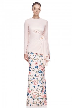 Chempaqa Kurung in Soft Peach