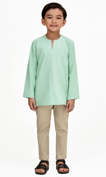 Demir Kurta Kids in Dusty Green
