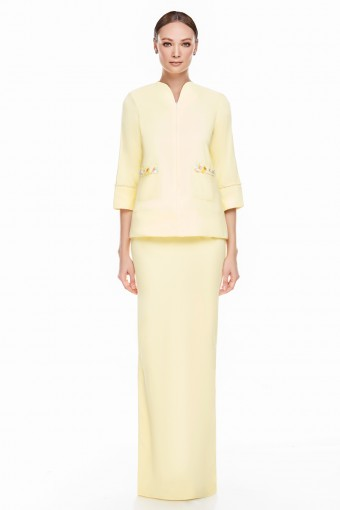 Edina Kurung in Pastel Yellow