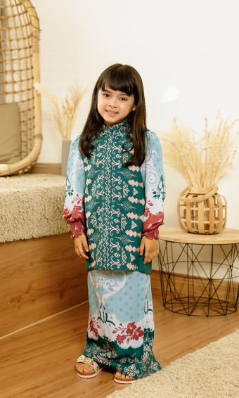 Jemna Kurung Kids in Emerald Green