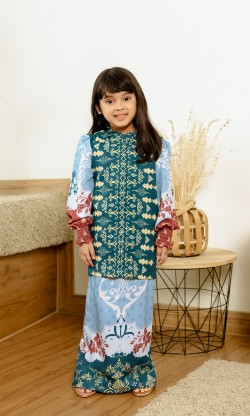 Jemna Kurung Kids in Teal Blue