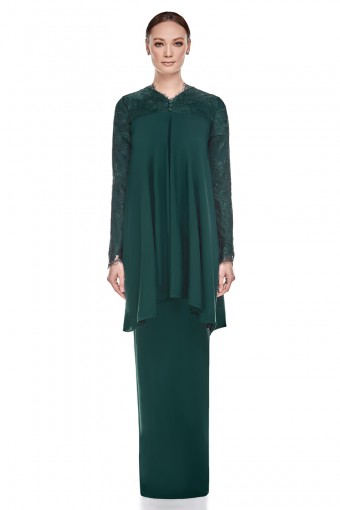 Lumi Kurung in Emerald Green