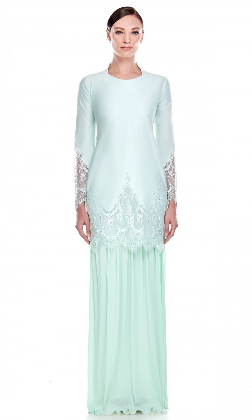 Mawar Kurung in Mint Green
