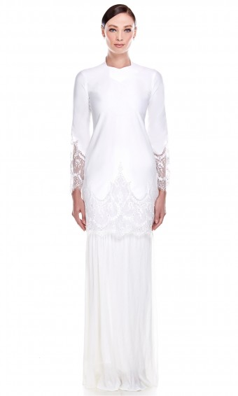 Mawar Kurung in White