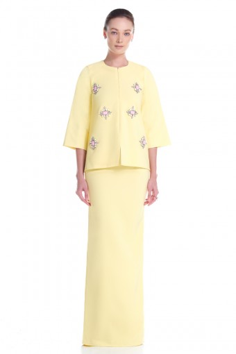 Mora Kurung in Soft Yellow