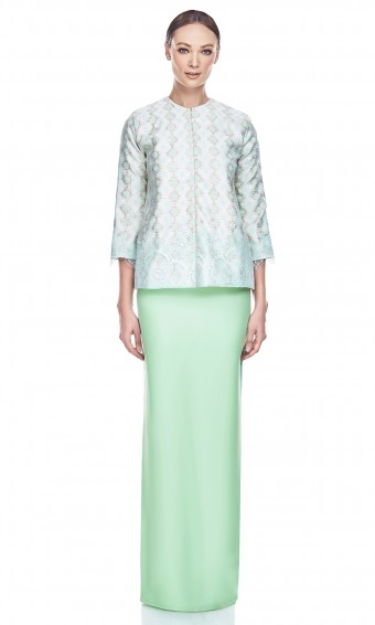 Orked Kurung in Mint Green