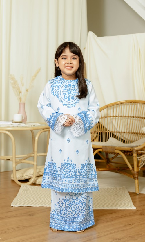 Aarya Kurung Kids in Marlin Blue