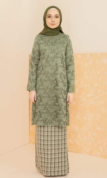 Rachel Kurung in Olive Green