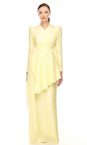 Trisya Kurung in Lemon Yellow