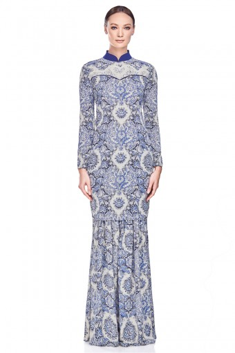 Thahanie Kurung in Navy Blue
