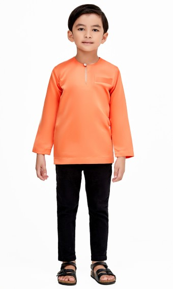 Umar Kurta Kids in Orange Brick
