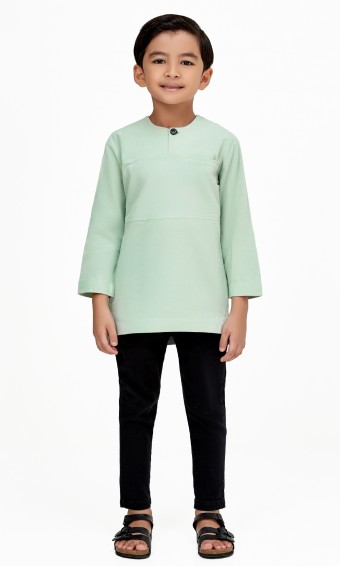 Uthman Kurta Kids in Mint Green