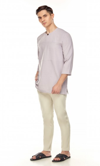 Uthman Kurta in Purple Grey
