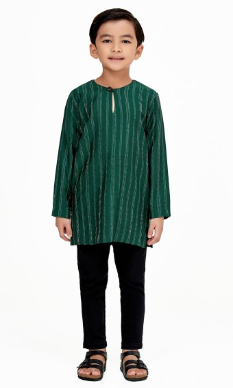 Zeki Kurta Kids in Emerald Green