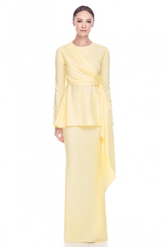 Zelra Kurung in Pastel Yellow