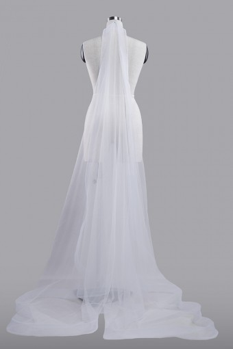 Veil Plain WITH Horsehair in White-L